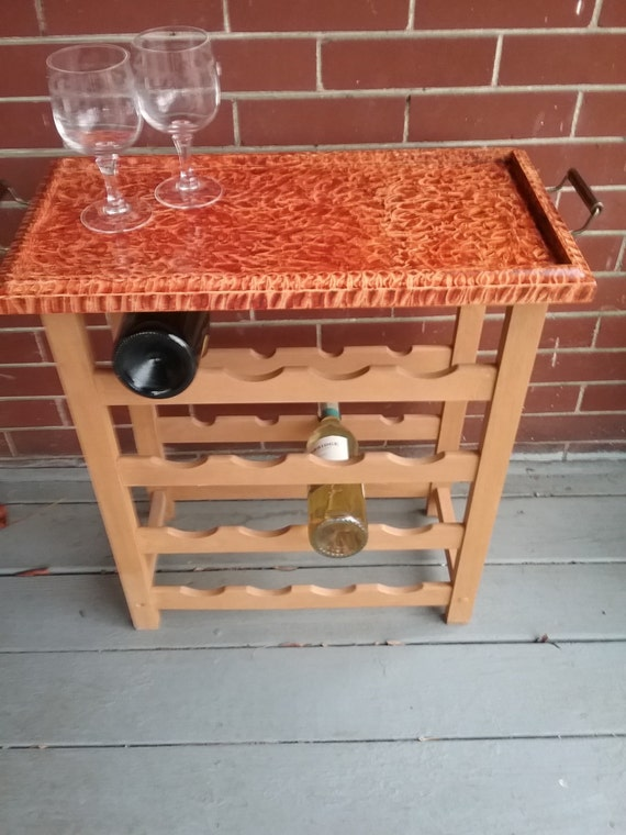 Wine rack table with removable vinegar painted teak tray
