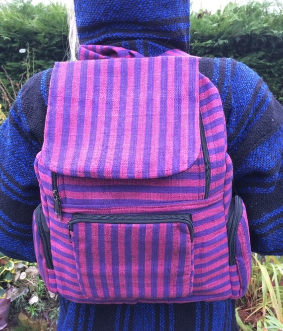 Black Purple Stripe Backpack, Bright Stripe Multicolour Rucksack, Hippy Boho Festival Boho