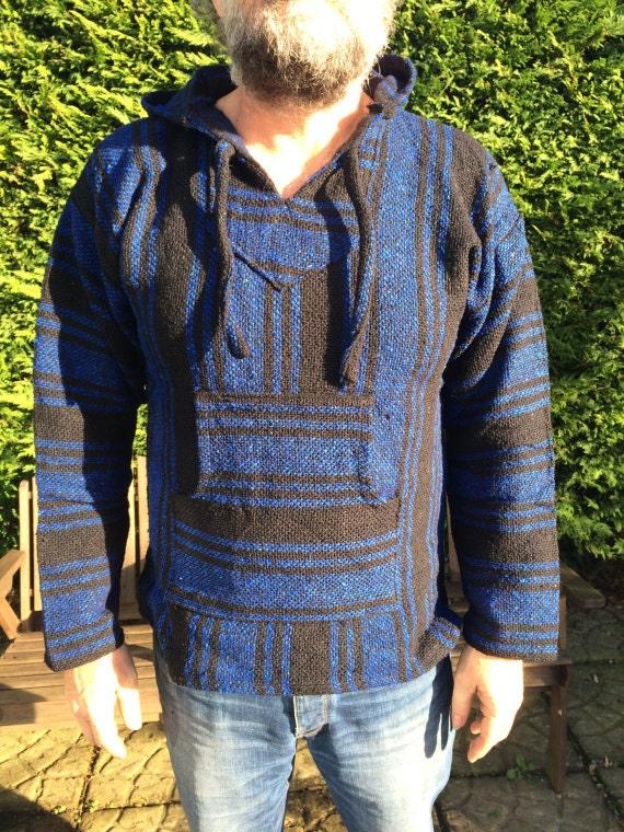 Size - M - Unisex Baja Mexican Hoodie Jackets Stripe Colourful Hippie Boho Festival Purple Multi