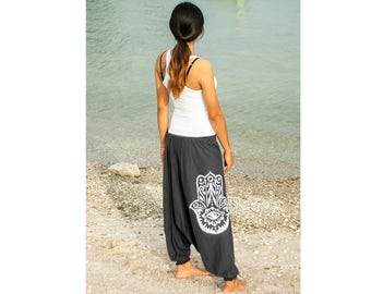 Women Yoga Harem Pants Hand Screen Printed Boho Baggie Gipsy Hippie Hand of Fatima 100% Cotton Tshirt fabric - elastic waistband and cuffs