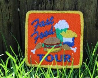 Vintage Patch Fast Food Tour Hamburger Fries Junk Food Shake