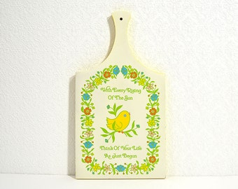 Painted Wooden Cutting Board- Lorrie Design Decorative Cutting Board with Flowers and Inspirational Quote- Cheerful Cottage Kitchen Decor