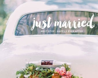 Just Married Decal / Vinyl Decal / Wedding Decal / Wedding Decor / Wedding Decal Modern / Happily Ever After Wedding