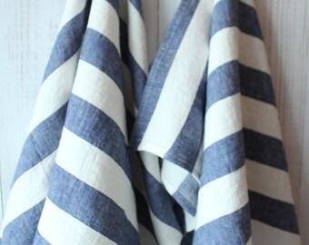 linen tea towels , gift towels, hand towels,WIDE striped blue towels, blue linen, gift for him