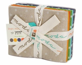 Fat Quarter Bundle Mochi Linen Dots by Momo for Moda -8 Fabrics