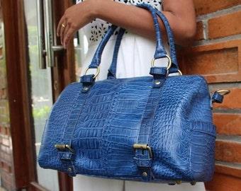 Blue Croco Leather Tote Bag
