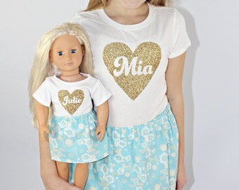 Matching Girl and Doll Name Shirts. Dollie and Me Clothes. 18 Inch Doll Clothes. 15 Inch Doll Clothes. Personalized Name Shirts