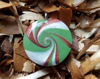 Polymer clay camo swirl wave necklace