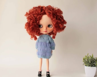 Blythe dress, Hand knitted soft cozy blue dress for Blythe doll, Licca, 12 inch doll from VolnaDollsClother, Mohair knit mini dress for doll