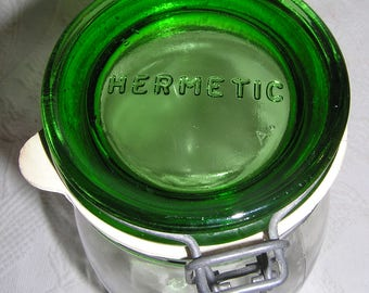 2 Liter Hermetic Storage Canister Jar with Green Bail Clamp Lid - Made in Italy
