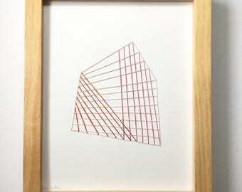 Hand Stitched Woven Shapes in Pinks. Paper. Framed + Ready to Hang. One of a Kind Art Pieces.