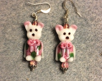White, green and pink lampwork bunny rabbit bead earrings adorned with pink Czech glass beads.