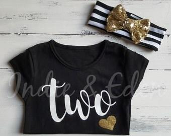2nd Birthday Two Baby Gold Black Girls T Shirt Tshirt Top Cake Smash Photo Prop