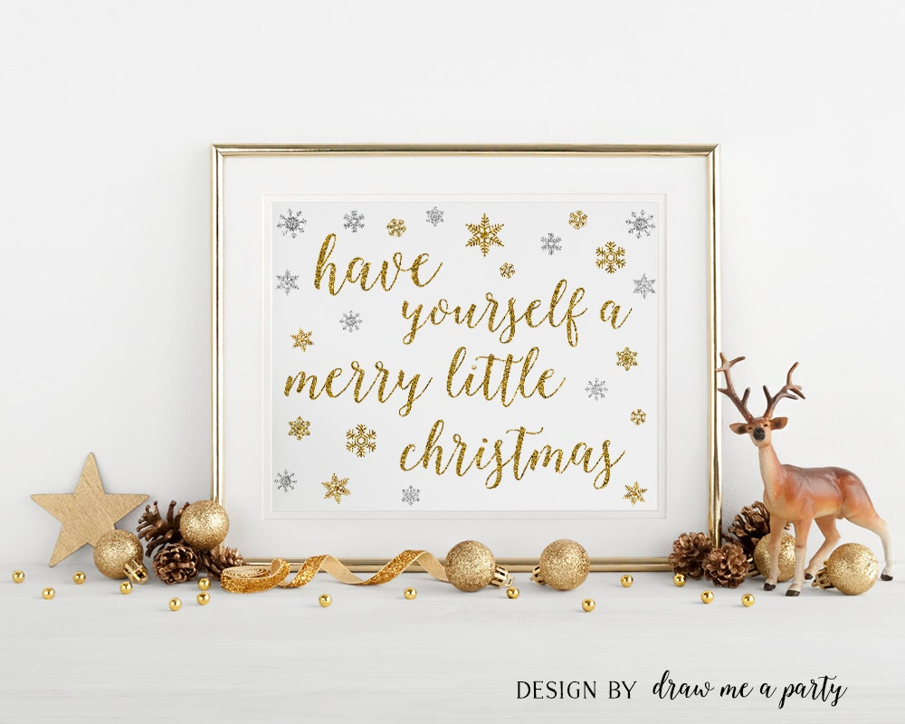 Have Yourself A Merry Little Christmas Sign Winter Party Holidays