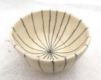 Unique Line Drawn Bowl, Ceramic wheel thrown bowl, Small bowl, Mini bowl, Jewelry dish, Wedding Ring Bowl