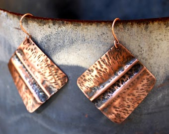 Fold Formed Hammered Copper Earrings, Diamond / Square Copper Earrings, Earthy Natural Rustic Earrings,