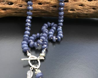 Blue sodalite knotted necklace - leaf charm necklace - sterling silver