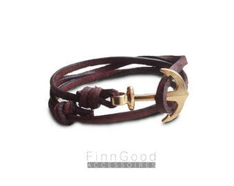 Anchor bracelet leather 925 Sterling silver/ 24K gold