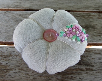 Linen pincushion, sewing accessory, floral pincushion, Hand embroidered pincushion, needle holder