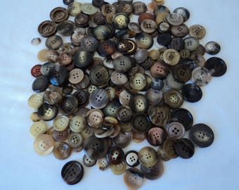 REDUCED - French vintage two toned assorted craft buttons - over 200 buttons (04650)