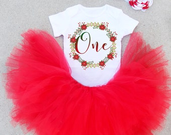First Birthday Outfit, Christmas Birthday Outfit, One Birthday Outfit, First Birthday Set, Red extra full skirt and one shirt, Birthday Set