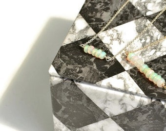 Natural Opal Necklace | Gemstone Bar Pendant | Dainty Layering Necklace