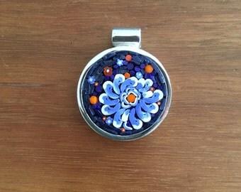 Micromosaic Pendant: blues, purples, oranges