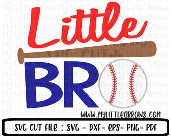 Little bro svg -  SVG, DXF, EPS, png Files - Cutting Machines Cameo Cricut - baseball clip art - cute baseball svg - little bro baseball svg