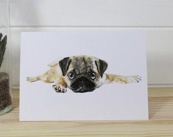 A6/C6 Watercolour Pug Fine Art Greeting Card