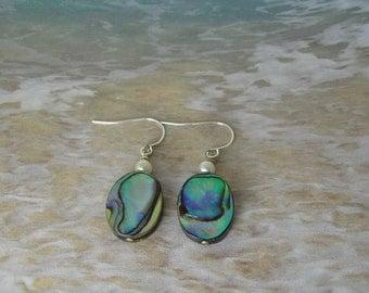 Abalone and Pearl Earrings, Beach Earrings