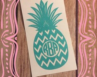 Glitter chevron pineapple monogram decal; pineapple yeti decal; glitter decal; monogram decal; glitter monogram decal