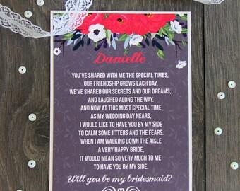 Bridesmaid Card - Bridesmaid Proposal - Asking Bridesmaid - Will You Be My Bridesmaid - Deep Red Bridesmaid Invite - Ask Bridesmaid Card