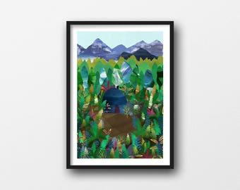 Mountain, A4/A3 giclée illustration print