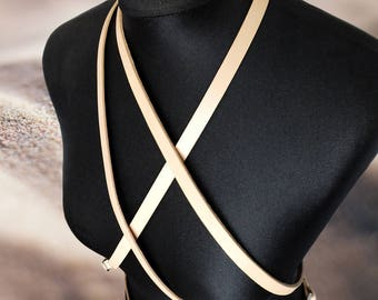 "Harness ""Wind"" of natural leather and high-quality belt accessories 