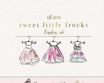 dress logo little girls dresses logo premade logo sewing logo fabric logo seamstress logo dress maker logo children's boutique logo design