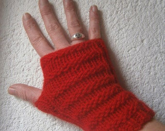 Red hand made wool mittens, knitted seamless