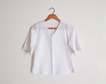 SALE Vintage Sheer White Embroidery Crop Blouse