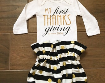 Thanksgiving outfit, baby girl thanksgiving outfit, thanksgiving onesie, first thanksgiving,