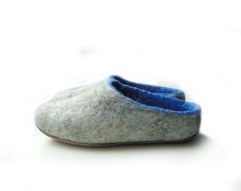 Children blue grey wool felted slippers for boy and girl,gefilzte Hausschue, Handmade children shoes,BabyShoes,grey-blue felted Slippers