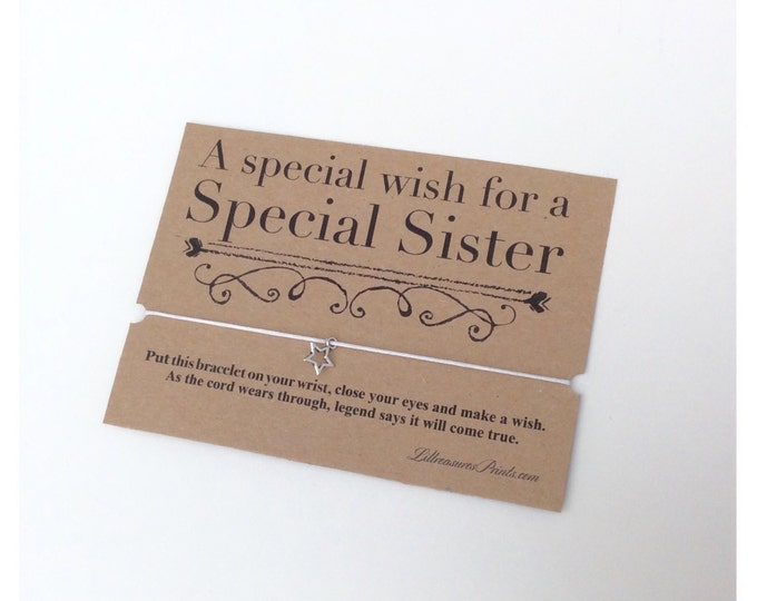 A special wish for a special sister, nanny, aunt wish bracelet | Made for anyone | Friendship Bracelet | Wish band | Charm bracelet.