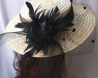 Straw Canotier Hat with Feathers, Veil and Crin, Canotier with Flower and Veil, Wedding Hat, Event Hat, Womens Canotier, Womens Hat