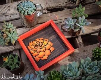Lasercut, Succulent,  Framed Wood Sign, succulent sign, cacti, cactus, floral, flower, ombre, home decor