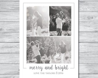 Christmas Card, Merry and Bright Christmas Card, Christmas Photo Card, Holiday Card, Holiday Photo Card, Customizable Photo Card