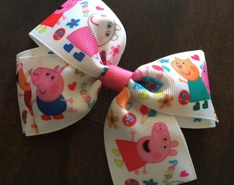 Peppa pig hair bow