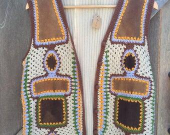 Vintage crochet and patch vest