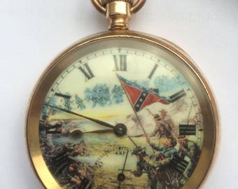 Antique gold plated pocket watch with civil war dial