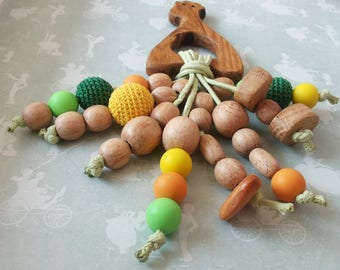 Teether natural, safari,  Teether for baby Giraffe, teething toy, Organic teethers, Gift for newborn, Giraffe, Wooden Teether Toy, Wooden