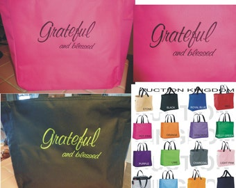 1 Personalized Tote Bag Grateful Blessed Gift Wedding Teacher FRIEND Mom Nana Grandma Personalized Embroidered