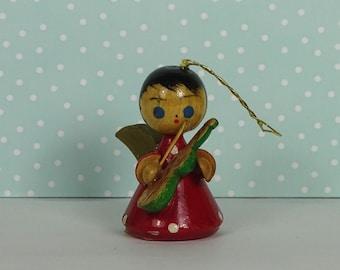 Vintage angel Christmas ornament violin red 1950s