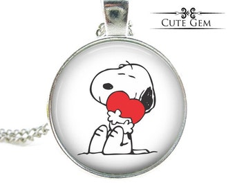 SUPER SALE - Snoopy Hugging Heart - Silver Glass Pendant Necklace, Jewelry Gift